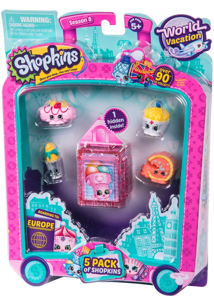 Shopkins, pachet 5 figurine, colectia Europa Pink